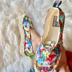 Moschino Tropical Jungle Espadrille canvas slip on